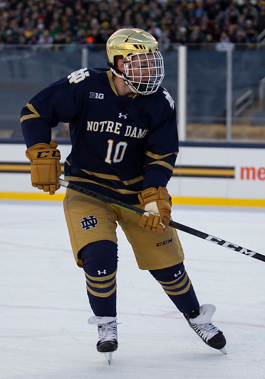 January 05, 2019:  Notre Dame forward Cam Burke (10) during NCAA Hockey game action between the Michigan Wolverines and the Notre Dame Fighting Irish at Notre Dame Stadium in South Bend, Indiana.  Michigan defeated Notre Dame 4-2.  John Mersits/CSM