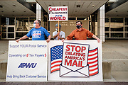 25 AUGUST 2020 - DES MOINES, IOWA: About 100 people, postal workers and members of the public, came to the Neal Smith Federal Building Tuesday to call for increased spending for the US Postal Service and an end to attacks on the USPS by members of the Trump administration. The rally was a part of a series national rallies organized by the American Postal Workers Union (APWU). Many of the people at the rally expressed concerns that the President's actions versus the USPS could harm their ability vote by mail in the November general election.     PHOTO BY JACK KURTZ