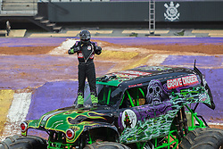December 16, 2017 - Sao Paulo, Sao Paulo, Brazil - MORGAN KANE, driver of Grave Digger, shows off her shirt with the Corinthians symbol during a round of racing. Monster Jam was held at Corinthians Stadium, in Sao Paulo, Brazil. (Credit Image: © Paulo Lopes via ZUMA Wire)