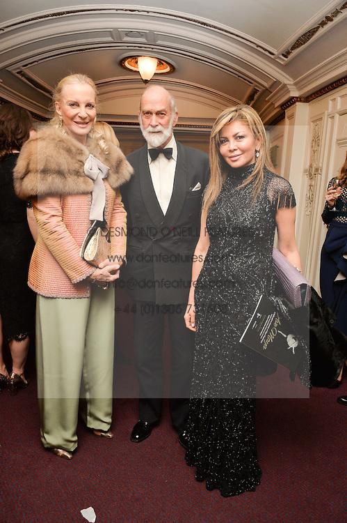 Left to right, TRH PRINCE & PRINCESS MICHAEL OF KENT and ALFIYA KUANYSHEVA at the Ave Maya Ballet gala in memory of Maya Plisetskava held at the English National Opera, St.Martin's Lane, London on 6th March 2016.