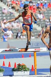 Noah Schutte op de 3000m steeple chase bij het EK atletiek in Berlijn op 7-8-2018