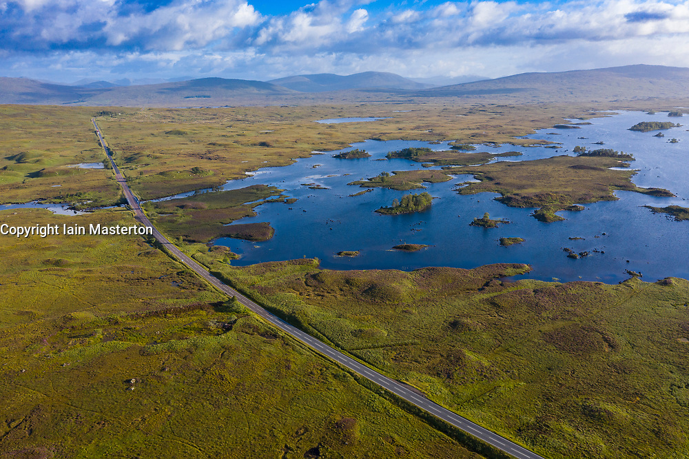 Aerial view of Loch Ba and A82 on Rannoch Moor in summer, Scotland, UK