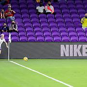 ORLANDO, FL - JANUARY 22:  Megan Rapinoe #15 of United States sets up for a corner kick against Colombia at Exploria Stadium on January 22, 2021 in Orlando, Florida. (Photo by Alex Menendez/Getty Images) *** Local Caption *** Megan Rapinoe