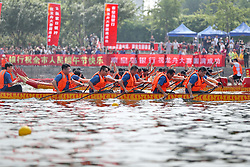 June 15, 2018 - Qinhuangdao, Qinhuangdao, China - Qinhuangdao, CHINA-15th June 2018: A dragon boat race is held in Qinhuangdao, north China's Hebei Province, June 15th, 2018, marking the upcoming Dragon Boat Festival. (Credit Image: © SIPA Asia via ZUMA Wire)