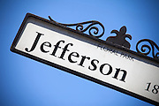 Jefferson Street Sign in Floral Park of Santa Ana California