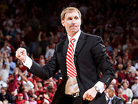 FAYETTEVILLE, AR - DECEMBER 30:   Head Coach John Pelphrey of the Arkansas Razorbacks pumps his fist during their game against the Oklahoma Sooners at Bud Walton Arena on December 30, 2008 in Fayetteville, Arkansas.  The Razorbacks defeated the Sooners 96-88.  (Photo by Wesley Hitt/Getty Images) *** Local Caption *** John PelphreyUniversity of Arkansas Razorback Men's and Women's athletes action photos during the 2008-2009 season in Fayetteville, Arkansas....©Wesley Hitt.All Rights Reserved.501-258-0920.