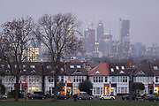 Through a gap of 100 year-old ash trees, Edwardian period homes bordering Ruskin Park in south London with residential high-rises at the distant Nine Elms development in Battersea, on 25th November 2020, in London, England.