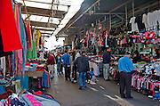 Israel, Tel Aviv, Carmel Market, the clothes stalls near the Allenby Entrance
