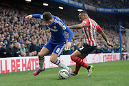 Oscar of Chelsea holding the ball from Nathaniel Clyne of Southampton. Barclays Premier league match, Chelsea v Southampton at Stamford Bridge in London on Sunday 15th March 2015.<br /> pic by John Patrick Fletcher, Andrew Orchard sports photography.