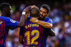 August 15, 2018 - Barcelona, Spain - Rafinha Alcantara from Brasil celebrating his goal with Luis Suarez from Uruguay and Ousmane Dembele from France during the Joan Gamper trophy game between FC Barcelona and CA Boca Juniors in Camp Nou Stadium at Barcelona, on 15 of August of 2018, Spain. (Credit Image: © Xavier Bonilla/NurPhoto via ZUMA Press)