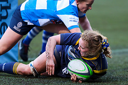 Charlotte Wright Haley, on debut for Worcester Warriors Women,  scores a try - Mandatory by-line: Nick Browning/JMP - 09/01/2021 - RUGBY - Sixways Stadium - Worcester, England - Worcester Warriors Women v DMP Durham Sharks - Allianz Premier 15s