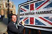 Nigel Huddleston MP at the National Farmers Union NFU took machinery, produce, farmers and staff to Westminster to encourage Members of Parliament to back British farming, post Brexit on 14th September 2016 in London, United Kingdom. MPs were encouraged to sign the NFU's pledge and wear a British wheat and wool pin badge to show their support.