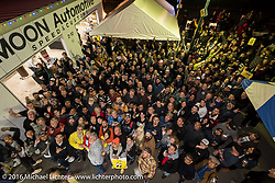 Group photo of all the guests at the Monday night afterparty at Mooneyes Area One after the Mooneyes Yokohama Hot Rod & Custom Show. Yokohama, Japan. December 5, 2016.  Photography ©2016 Michael Lichter.