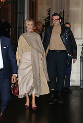 Celine Dion and Pepe Munoz on their way to the Valentino show in Paris, France on january 23rd 2019