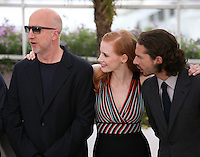 John Hillcoat, Jessica Chastain, Shia Labeouf at the Lawless film photocall at the 65th Cannes Film Festival. The screenplay for the film Lawless was written by Nick Cave and Directed by John Hillcoat. Saturday 19th May 2012 in Cannes Film Festival, France.