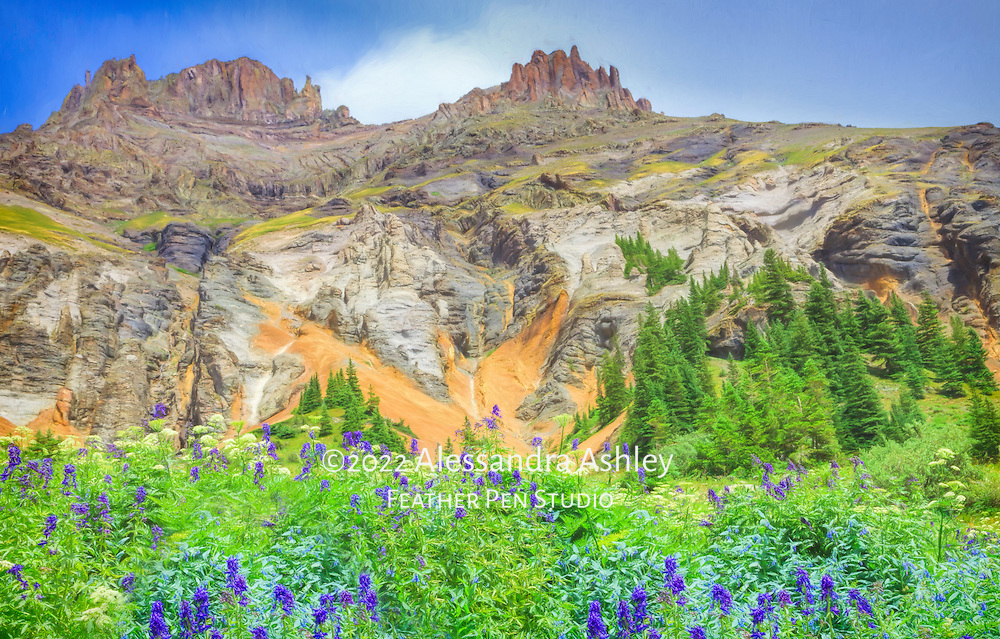 Early summer wildflower bloom in the rugged Colorado backcountry at Yankee Boy Basin.  Painted effects blended with photorealism.