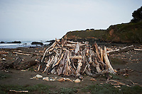 Driftwood Shelter near Pico Creek, San Simeon, Central California Coast. Image taken with a Nikon D3s and 50 mm f/1.4G lens (ISO 800, 50 mm, f/10, 1/400 sec).
