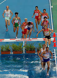 Bostjan Buc of Slovenia, Alberto Paulo of Portugal, Jose Luis Blanco of Spain, Ildar Minshin of Russia, Eliseo Martin of Spain, Andrey Farnosov of Russia, Bjornar Ustad Kristensen of Norway, Steffen Uliczka of Germany, Tomasz Szymkowiak of Poland and Ion Luchianov of Moldova compete in the Mens 3000m Steeplechase Final during day six of the 20th European Athletics Championships at the Olympic Stadium on August 1, 2010 in Barcelona, Spain. (Photo by Vid Ponikvar / Sportida)