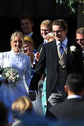 Newly married Ellie Goulding and Caspar Jopling leave York Minster after their wedding.