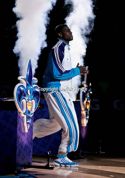 Mar 01, 2010; New Orleans, LA, USA; New Orleans Hornets guard Darren Collison is introduced prior to tip off of a game against the San Antonio Spurs at the New Orleans Arena. Mandatory Credit: Derick E. Hingle-US PRESSWIRE
