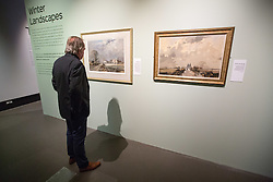 "@Licensed to London News Pictures 09/10/2015.Chatham, Kent. An eclectic selection of fine art by leading advocate of English lanscapes in winter  of distinguished English painter Rowland Hilder OBE PPRI RSMA opens tomorrow 10/10/15 at Chatham Historic Dockyard gallery in Chatham Kent. Included in the collection are illustrations from Moby Dick, Treasure Island, The Bible and unseen and banned  ""risque"" illustrations Like Precious Bane.    Photo credit: Manu Palomeque/LNP"