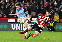 Manchester City's Kevin De Bruyne has his shot charged down by Sheffield United's Oliver Norwood <br /> <br /> Photographer Rich Linley/CameraSport<br /> <br /> The Premier League - Sheffield United v Manchester City - Tuesday 21st January 2020 - Bramall Lane - Sheffield<br /> <br /> World Copyright © 2020 CameraSport. All rights reserved. 43 Linden Ave. Countesthorpe. Leicester. England. LE8 5PG - Tel: +44 (0) 116 277 4147 - admin@camerasport.com - www.camerasport.com
