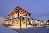 Maryland real estate photographer Jeffrey Sauers image of the Potomac School in Bethesda at twilight