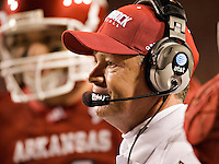 FAYETTEVILLE, AR - OCTOBER 25:   Bobby Petrino of the Arkansas Razorbacks on the sidelines during a game against the Ole Miss Rebels at Donald W. Reynolds Stadium on October 25, 2008 in Fayetteville, Arkansas.  The Rebels defeated the Razorbacks 23 to 21.  (Photo by Wesley Hitt/Getty Images) *** Local Caption *** Bobby PetrinoUniversity of Arkansas Razorback Men's and Women's athletes action photos during the 2008-2009 season in Fayetteville, Arkansas....©Wesley Hitt.All Rights Reserved.501-258-0920.
