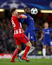 Atletico Madrid's Niguez Saul (left) and Chelsea's Tiemoue Bakayoko battle for the ball during the UEFA Champions League match at Stamford Bridge, London.