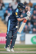 With a flick of the wrist, Joe Root (Yorkshire CCC) reaches his half century. 50 not out during the Royal London 1 Day Cup match between Yorkshire County Cricket Club and Durham County Cricket Club at Headingley Stadium, Headingley, United Kingdom on 3 May 2017. Photo by Mark P Doherty.