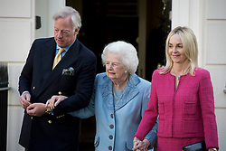 ©  London News Pictures. 13/10/2012. London, UK. Former British Prime Minister Margaret Thatcher dressed in blue as she leaves her home in London for lunch on her 87th birthday with her son Mark Thatcher and his wife Sarah on October 13, 2012. Photo credit : Ben Cawthra/LNP Baroness Thatcher has died this morning follow a stroke, her spokesman Lord Bell says