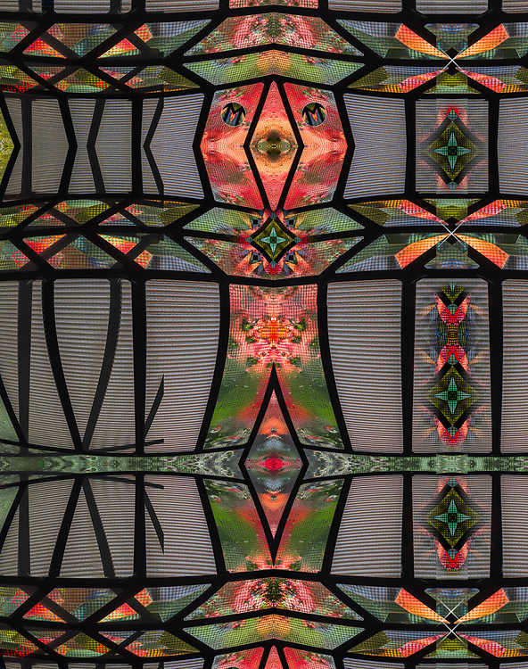 """""""Bhutanese Dancer 2"""", derivative image created from a photo of a leaded glass design, autumn, November, entry door to a private residence, Tacoma, Washington, USA"""