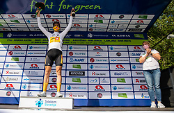 celebrates in white jersey as best young rider at trophy ceremony after the 1st Stage of 27th Tour of Slovenia 2021 cycling race between Ptuj and Rogaska Slatina (151,5 km), on June 9, 2021 in Slovenia. Photo by Vid Ponikvar / Sportida