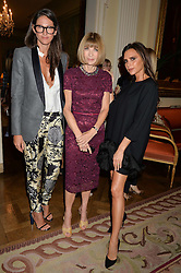 Left to right, JENNA LYONS J. Crew creative director, ANNA WINTOUR and VICTORIA BECKHAM at a party hosed by the US Ambassador to the UK Matthew Barzun, his wife Brooke Barzun and editor of UK Vogue Alexandra Shulman in association with J Crew to celebrate London Fashion Week held at Winfield House, Regent's Park, London on 16th September 2014.