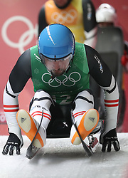 PYEONGCHANG, Feb. 15, 2018  David Gleirscher of team Austria starts run during team relay competition of luge at 2018 PyeongChang Winter Olympic Games at Olympic Sliding Centre, PyeongChang, South Korea. Team Austria claimed third place in a time of 2:24.988. (Credit Image: © Li Gang/Xinhua via ZUMA Wire)
