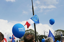 May 6, 2017 - Warsaw, Poland - On May 06 2017, which is celebrated as Europe Day in the European Union, the Civic Platform party (PO), the main opposition party in Poland's parliament, organized a march in Warsaw, Poland in defense of the holiday and the EU. The protest was held under the slogan and hashtag; #MarszWolno?ci, the Freedom March. Organizers called on protesters to join and demonstrate in defense of European values and against the current right wing government's actions, which the opposition feels is both unconstitutional and against the wishes of many moderate Poles. In 2016, the Civic Platform also organized a similar march under the slogan ''We are and will be in Europe'' and claimed that it was the single largest public manifestation of demonstrators since 1989, when communism fell in Poland. (Credit Image: © Anna Ferensowicz/Pacific Press via ZUMA Wire)