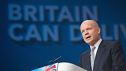 Conservative Party Conference, ICC, Birmingham, Great Britain <br /> Day 1<br /> 7th October 2012 <br /> <br /> <br /> Rt Hon William Hague MP<br /> Foreign Secretary <br /> <br /> Photograph by Elliott Franks<br /> <br /> Tel 07802 537 220 <br /> elliott@elliottfranks.com<br /> <br /> ©2012 Elliott Franks<br /> Agency space rates apply