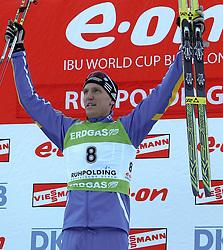 16.01.2011, Chiemgau Arena, Ruhpolding, GER, IBU Biathlon Worldcup, Ruhpolding, Pursuit Men, im Bild Podium, Sieger, 1. Platz, Bjoern FERRY (SWE) // Podium, winner, 1st place, Bjoern FERRY (SWE) during IBU Biathlon World Cup in Ruhpolding, Germany, EXPA Pictures © 2011, PhotoCredit: EXPA/ S. Kiesewetter