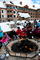 California: Outdoor firepits at skating rink at Northstar at Lake Tahoe.    Photo copyright Lee Foster.  Photo # cataho100589