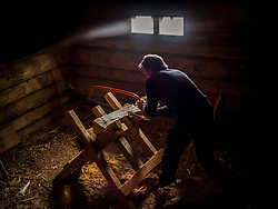Carpenter sawing a plank of wood in log cabin