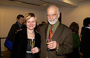 Marta Wilczkowiak and  Prof Phillip King, Modern Painters re-launch. Serpentine Gallery. 15 December 2004. ONE TIME USE ONLY - DO NOT ARCHIVE  © Copyright Photograph by Dafydd Jones 66 Stockwell Park Rd. London SW9 0DA Tel 020 7733 0108 www.dafjones.com
