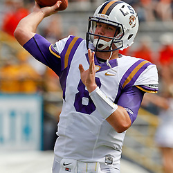 October 22, 2011; Baton Rouge, LA, USA;  LSU Tigers quarterback Zach Mettenberger (8) prior to kickoff of a game against the Auburn Tigers at Tiger Stadium.  Mandatory Credit: Derick E. Hingle-US PRESSWIRE / © Derick E. Hingle 2011
