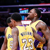 05 December 2016: Los Angeles Lakers center Tarik Black (28) is seen in pain next to Los Angeles Lakers forward Luol Deng (9) and Los Angeles Lakers guard Louis Williams (23) during the Utah Jazz 107-101 victory over the Los Angeles Lakers, at the Staples Center, Los Angeles, California, USA.
