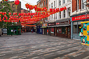 Chinatown, with the new year lanterns still hanging, is deserted during the coronavirus pandemic on the 10th May 2020 in London, United Kingdom. Restaurant owners in fear anti Chinese stigma and racism due to the coronavirus crisis will hamper the areas recovery.
