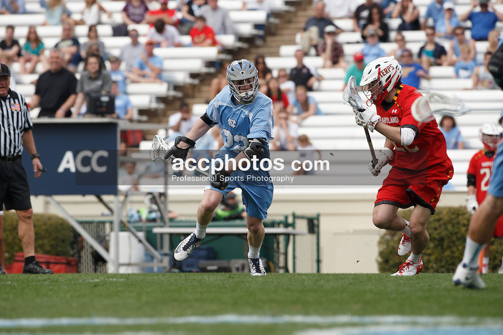 CHAPEL HILL, NC - MARCH 22: Shane Simpson #22 of the North Carolina Tar Heels during a game against the Maryland Terrapins on March 22, 2014 at Kenan Stadium in Chapel Hill, North Carolina. North Carolina won 11-8. (Photo by Peyton Williams/Inside Lacrosse)