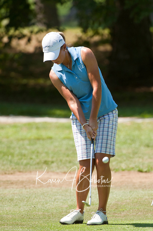 Jenny Gleason plays the 11th hole of the LPGA Futures Tour at Beaver Meadow Golf Course Thursday afternoon.  (Karen Bobotas/for the Concord Monitor)