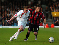 Photo: Tony Oudot.<br /> Milton Keynes Dons v Shrewsbury Town. Coca Cola League 2. Play off Semi Final 2nd Leg. 18/05/2007.<br /> Jonny Hayes of MK Dons goes past Ben Davies of Shrewsbury
