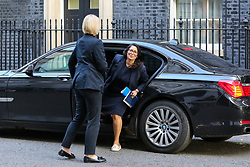 © Licensed to London News Pictures. 22/10/2019. London, UK. Home Secretary PRITI PATEL arrives in Downing Street to attend the weekly cabinet meeting. Photo credit: Dinendra Haria/LNP