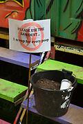 Glastonbury Festival, 2015.<br /> Sawdust for ablutions on eco toilet