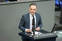 05 MAR 2021, BERLIN/GERMANY:<br /> Heiko Maas, SPD, Bundesaussenminister,, waehrend der Debatte zum Internationalen Frauentag; Plenum, Reichstagsgebaeude, Deutscher Bundestag<br /> IMAGE: 20210305-01